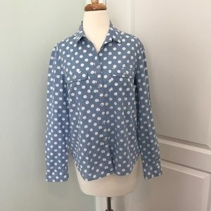 LOFT Denim w/ White Polka Dots Button Down Size M